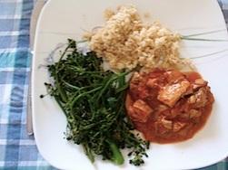 Chicken tikka masalla, broccoli and rice